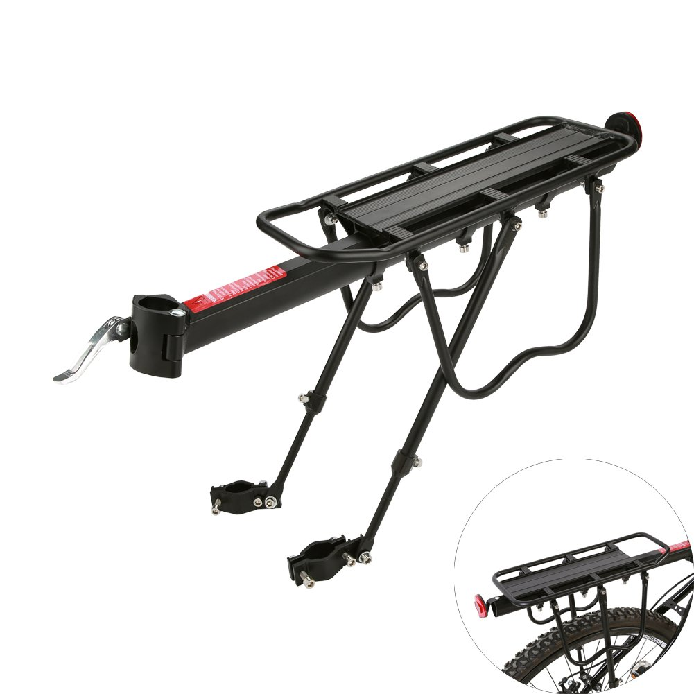 Yosoo Bicycle Rear Rack, Quick Release Adjustable Mountain Bike Cycling Luggage Cargo Rack Seat Carrier Load up to 110LBS