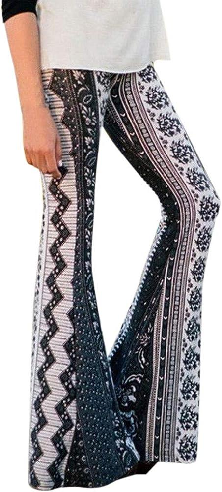 Boho High-Waist Casual Sports Bell-Bottoms Straight Yoga Trousers TTINAF Women Printed Flare Pants