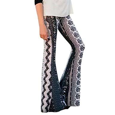 523fba20c6f LisYOU Women s Boho Solid Hippie Wide Leg Flared Bell Bottom Pants at  Amazon Women s Clothing store