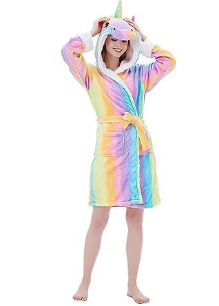 d3fb70ec09d7d Peignoir de Bain Eponge a Capuche Licorne Femme Homme Couple Pyjama Animaux  Manteau de Bain Mignon