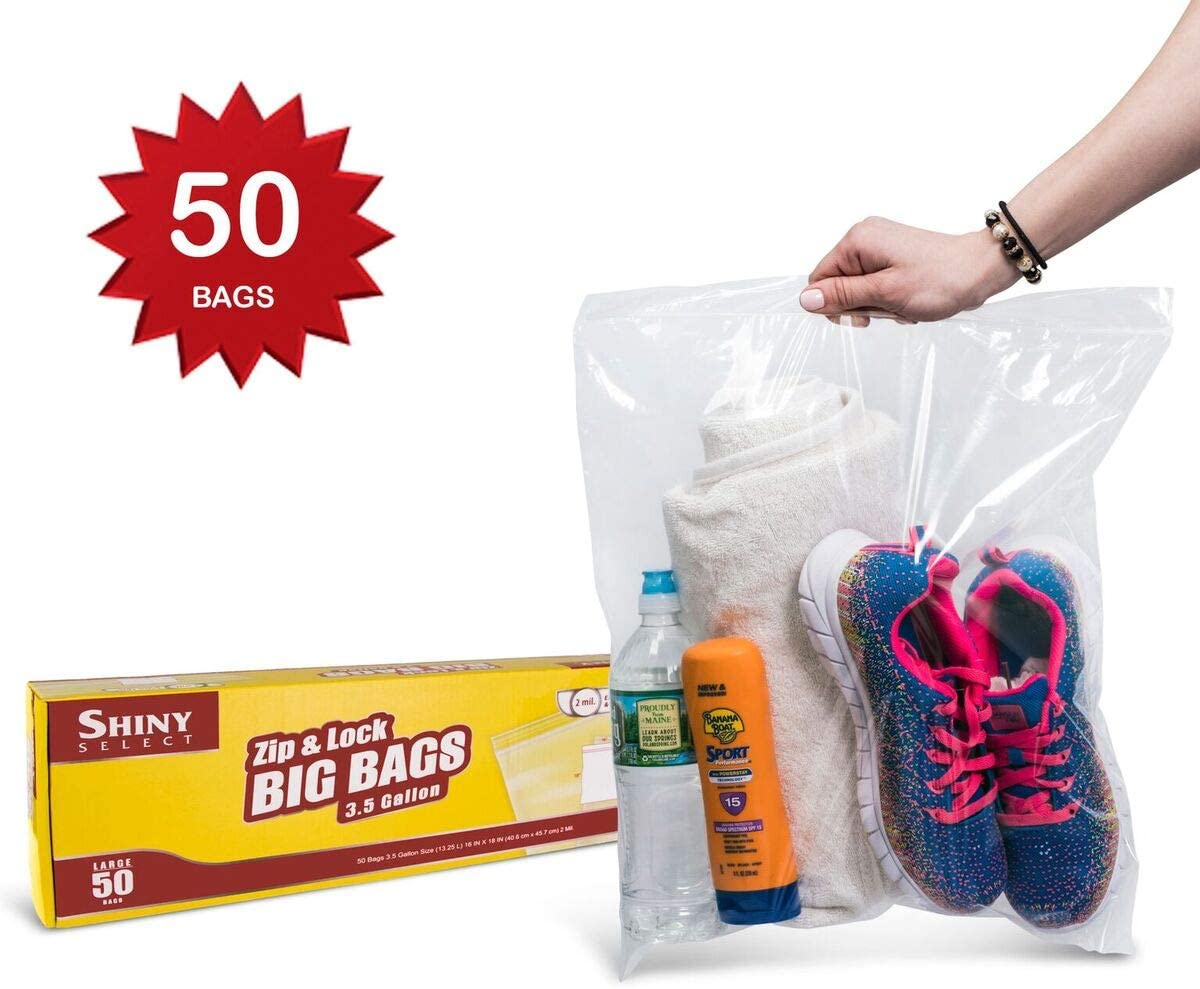 [PACK OF 50] Extra Large Zip & Lock 3 Gallon Storage or Freezer, Lunch, Travel Bags