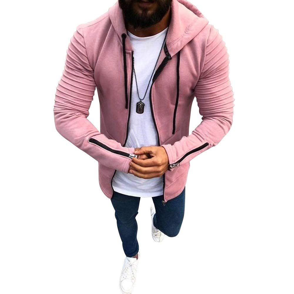 HHei_K Mens Autumn Winter Casual Plain Slim Fit Long Sleeve Full Zipper Coat Pocket Hoodies Sweatshirt Blouse by HHei_K (Image #1)