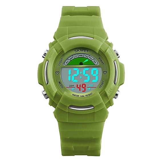 Relojes Digitales de niños LED Alarma Semana Pantalla 12/24 h cronómetro Fecha niños Deportes