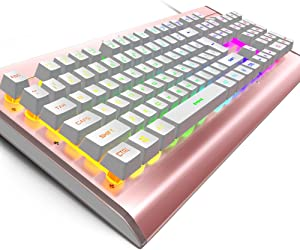 IREALIST [LED Version] Backlit Rainbow LED Keyboard with Mechanical Feeling Gaming Keyboard 104 Key for Office Industrial Computer (Rose Gold)