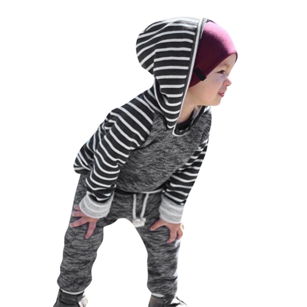 Neugeborene Kleidung Hirolan Sweatshirts 2 Stück Bekleidungssets Kleinkind Baby Streifen Kapuzenpullover Tops Jungen Outfits Mädchen Hose Anzug Lange Ärmel Kleider Set