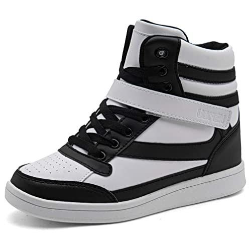 c2d9630c4af UBFEN Women's Shoes Hidden Wedges 5.5cm Fashion Sneakers Ankle Boots Bootie  Platform Heel High Top Casual Sports