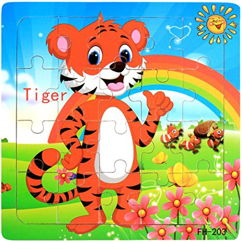Roysberry Toys - Wooden Educational Preschool Toys Tiger 3D Puzzle Shape Color Recognition Geometric Board Block Alphabet Puzzles Toys - Birthday Gift Toy Jigsaw Puzzles for Kids Ages 4-8 ()