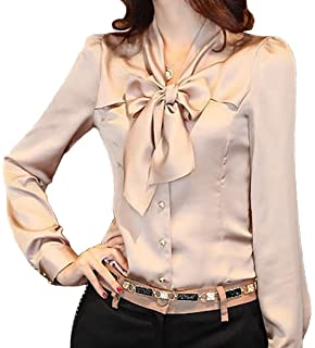f6e24eb7 JHVYF Women's Chiffon Long Sleeve Blouse Bow-Tie V Neck Slim Fit Button  Down Shirt
