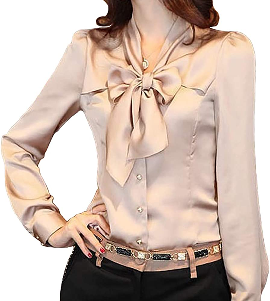 90c41b6613fcd1 JHVYF Women's Bow Tie Neck Blouses Long Sleeve Casual Work Office Polyester  Blouse Shirts Tops Apricot