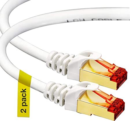 Amazon Com Cat7 Ethernet Cable 3 Ft 2 Pack Rj45 Connector Double Shielded Stp 10 Gigabit 600mhz Cat 7 Premium High Speed Network Wire Patch Cable 0 9m Lan Cord 3 Feet Computers Accessories