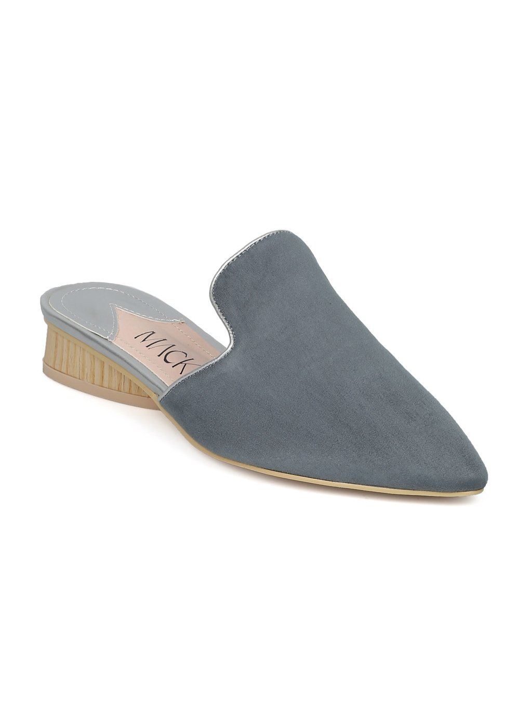 Alrisco Women Faux Suede Pointy Toe Low Heel Mule Slide HE62 - Wathet Faux Suede (Size: 9.0)