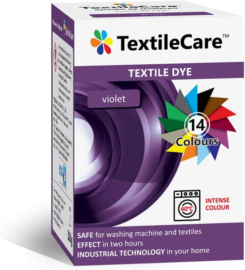 TextileCare - Tinte para ropa y textiles, 350 g de tinte para ropa de 600 g, 14 colores (Violeta)