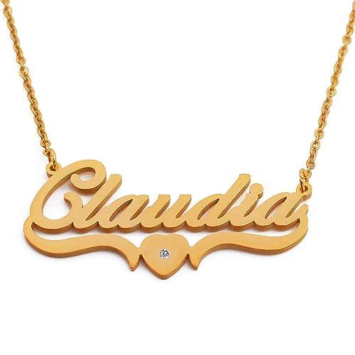 c0b9592651 Kigu Claudia Collar con Nombre Personalizado en Forma de corazón con Cadena  Ajustable - Chapado en Oro de 18 Quilates: Amazon.es: Joyería