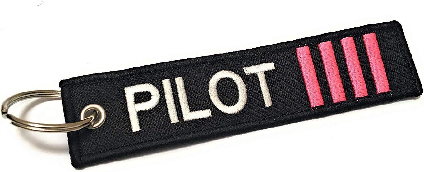 M/édaille Bagage Multicolore Aviamart/® Porte-Cl/és Pilot Lot de 2 - AVMZ-2-CPT-4-PINK Noir Premier Officiers et Capitaines Captain 4 Pink Stripes