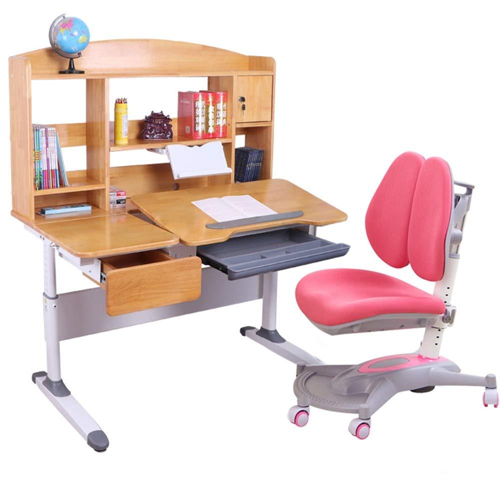 Kinderschreibtisch und Stuhlset Kinder Studie Schreibtisch Stuhl Tisch Set Für Kinder Kunst Holztisch Set Kippbare Tisch Und Stuhl Arbeitsstation Höhenverstellbar Geeignet für Schreibtische und Stühle Rosa