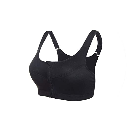 0757842253 Yomay Professional Zipper Front Running Yoga Sports Bra Shockproof Wirefree Crop  Top Fitness Vest