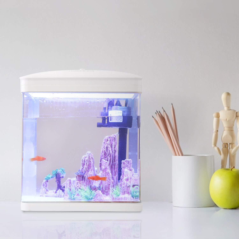 Nobleza - Acuario de Cristal con Cubierta y Luces LED. Sistema de Filtro de 7 litros. Color Blanco