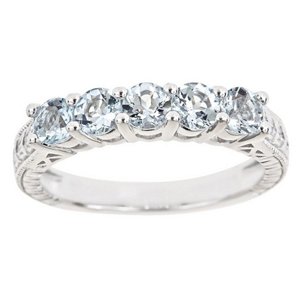 1.15 Carat Brilliant Round Cut Aquamarine 5-Stone Ring Wedding Band