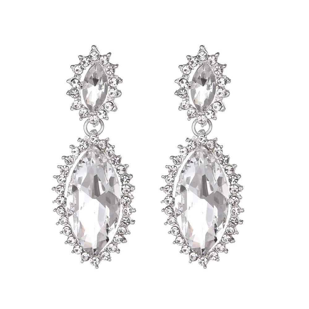 Youfir Bridal Sparkly Rhinestone Crystal Wedding Earrings for Bridesmaids Gift(Clear)