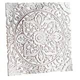 Pureday Carved Wooden Wall Panel, Distressed White