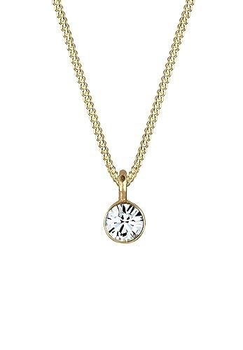 f1a38903695f Elli Damen-Kette mit Anhänger Kreis 925 Silber teilvergoldet Kristall weiß  Rundschliff 45 cm -