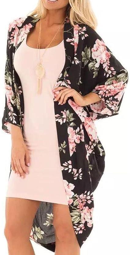 Women Long Chiffon Kimono Cardigan Printed Shawl Coat Tops Beach Cover Up Blouse