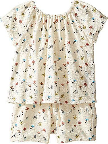 Chloe Kids Baby Girl's Flowers Embroidery Romper (Toddler) Imprime Shorts by Chloe and Madison