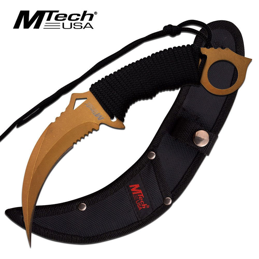 New FIXED-BLADE TACTICAL ProTactical'US - Limited Edition - Elite Knife with Sharp Blade Mtech Bronze Blade Paracord Serrated Combat Karambit