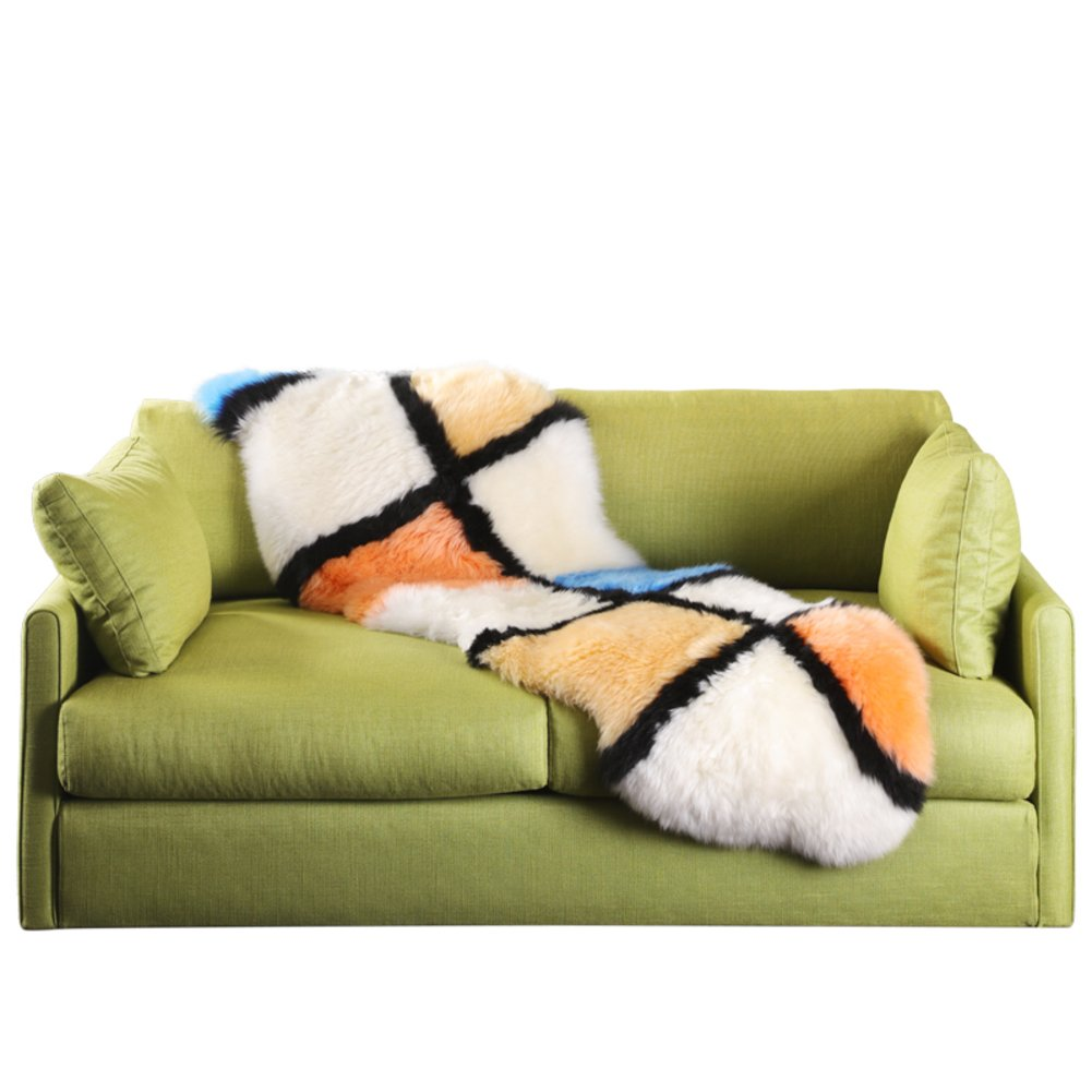 Color checker seat cover,Sofa cushions Simple [modern] Living room floor seat Non slip Shaggy Household decoration-Colorful 55x180cm(22x71inch)