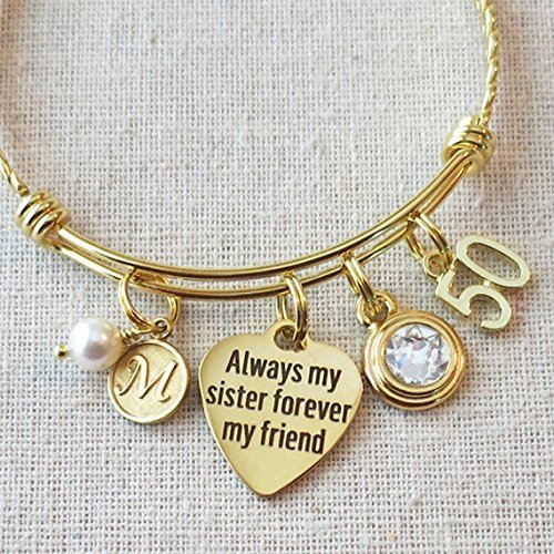 Amazon SISTER Gift 50th BIRTHDAY Gift Gold Bracelet Milestone