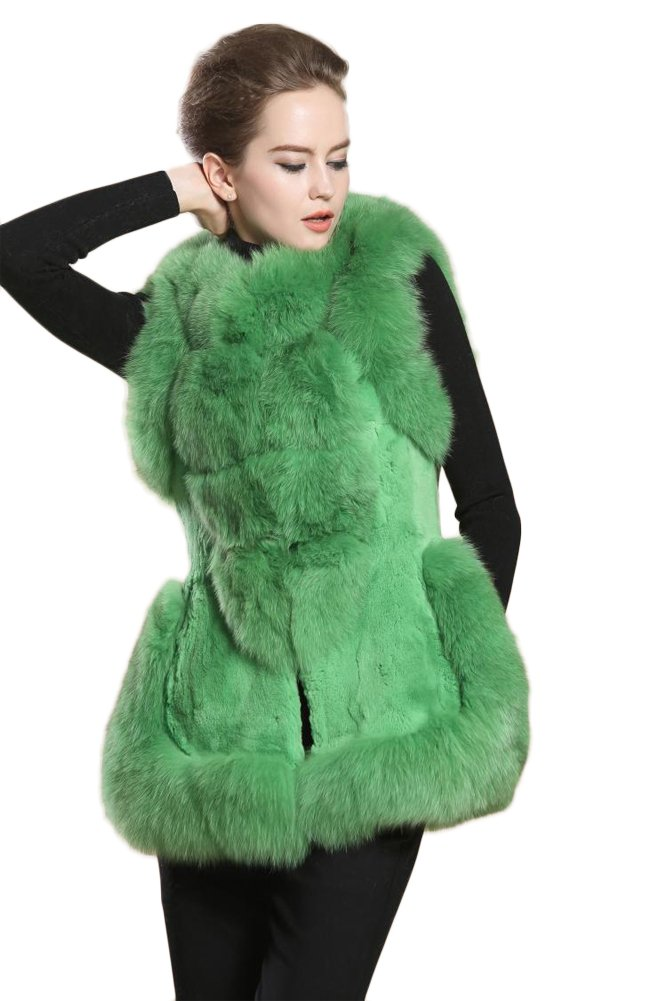 Queenshiny New style Women's 100% Real Rex Rabbit and Fox Fur Vest-Green-M(8-10)