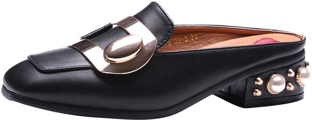 Calaier Mujer Cahave Bloquear 3CM Cuero Ponerse Zuecos Zapatos 37.5 Negro