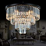 Meelighting 9 Lights Crystal Modern Contemporary Chandeliers Pendant Ceiling Light 4-Tier Chandelier Lighting for Dining Room Living Room Bedroom Girls Room Dia 23.6″