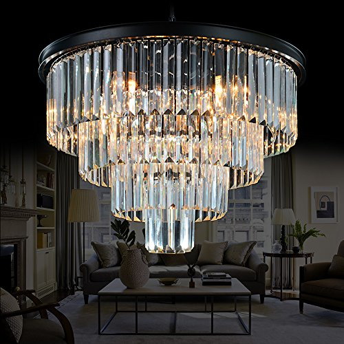 Meelighting 9 Lights Crystal Modern Contemporary Chandeliers Pendant Ceiling Light 4-Tier Chandelier Lighting for Dining Room Living Room Bedroom Girls Room Dia ()