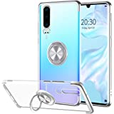 Huawei P30 Case, Relime Silicone Transparent Soft TPU Slim Cover Case Anti-Scratch Shockproof Protection with Ring Stand Magn