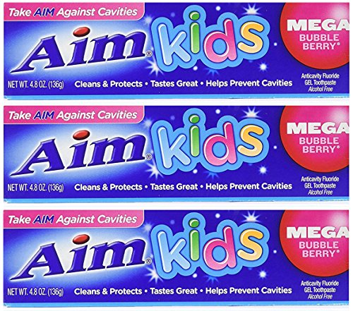 Aim Kids Mega Bubble Berry Anticavity Flouride Gel Toothpaste Alcohol Free Cleans and Protects Helps Prevent Cavities (3 Pack) 4.8 Ounce Each ()