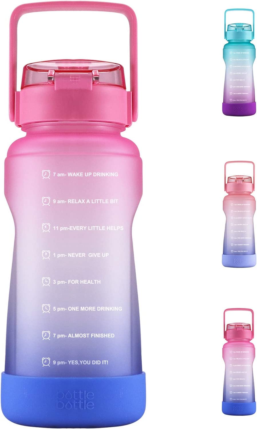 BOTTLE BOTTLE Half Gallon/64 oz Water Bottle with Straw Big Handle Protective Silicone Boot Sports Water Bottle with Time Marker Leak Proof Reusable Water Jug for Adult and Kids(Rose-Red Blue)