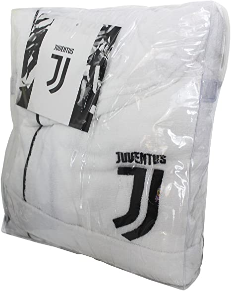 tex family Accappatoio Adulto Originale Juve Juventus in MICROSPUGNA Bianco Nero con Zaino Piscina XL