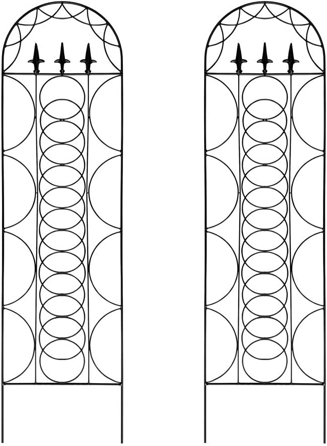 Garden Trellis for Vines and Climbing Plants, Set of 2, Black Metal Wire Lattice Grid Panels for Cucumber & Vegetables, Clematis Support, Rose Vines, Durable & Sturdy Beautiful Plant Decor