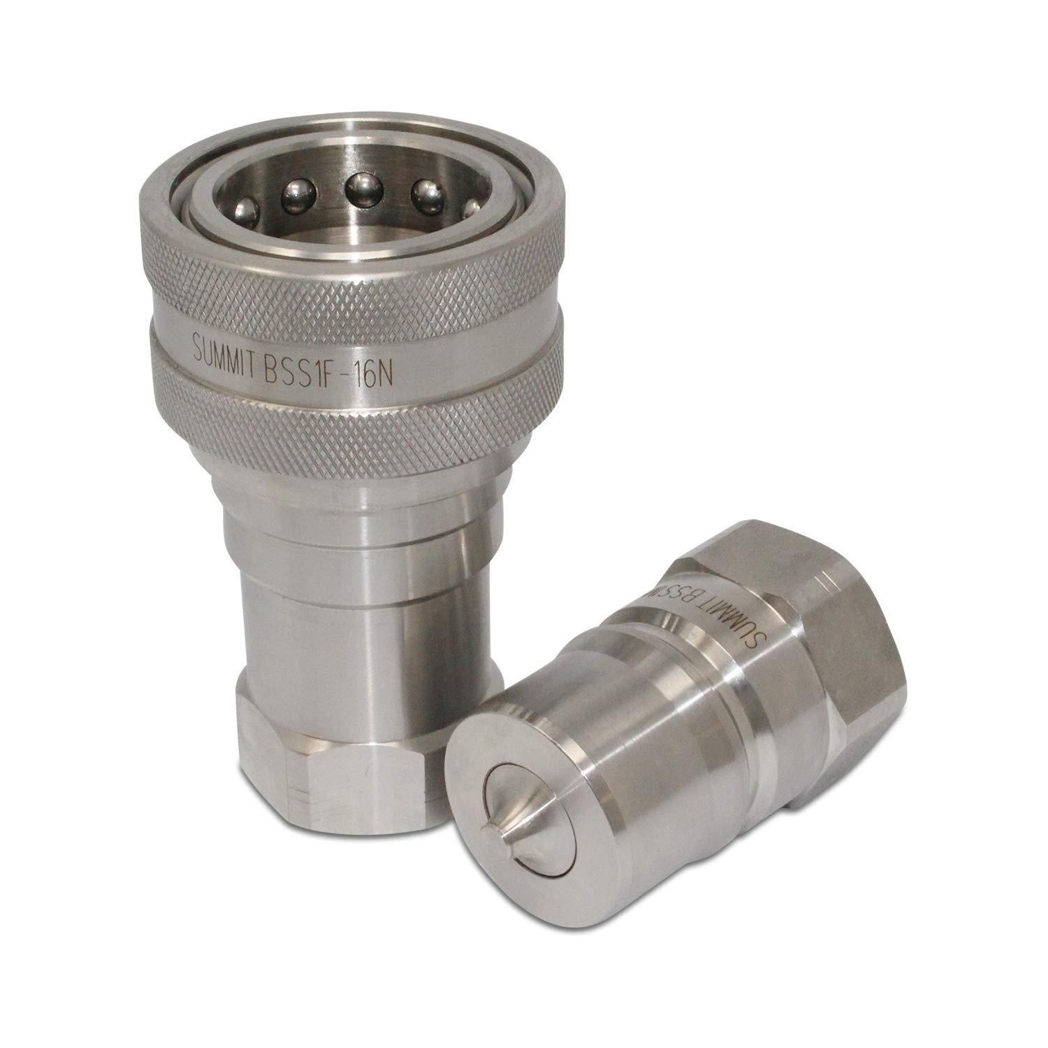 1″ NPT ISO 7241-B Stainless Steel Quick Disconnect Hydraulic Coupler Set
