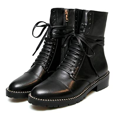 69f0a37c403a6 Fashion Ankle Martin Boot Women Genuine Leather Round Toe Lace Up Platform  Low Heel Studded Combat