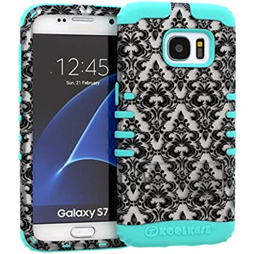 Galaxy S7 Case, Hybrid Heavy Duty Rugged Armor Kickstand Shock Proof Impact Resistant Grip Cover for Samsung Galaxy S7 (White Damask / B Teal) Sales