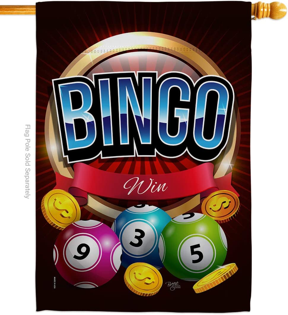 Breeze Decor Games Bingo Win House Flag Interests Bunco Night Dice Poker Hobbies Leisure Activity Small Decorative Gift Yard Banner Double-Sided Made in USA 28 X 40