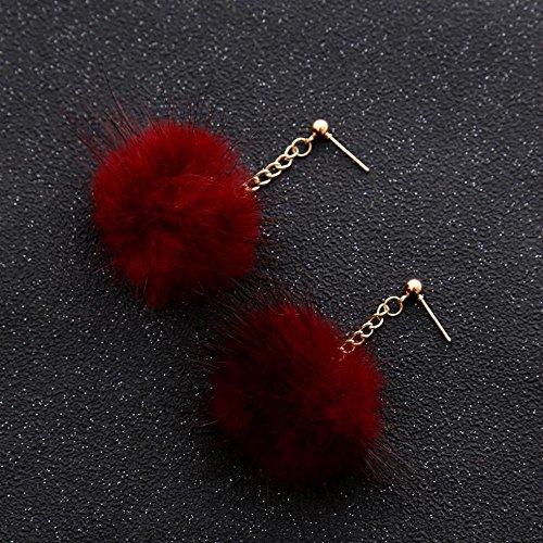 pendentif d'oreilles mignonne long boucles de petite tempérament pendentif boule Wine Red cheveux stud oreille Lady vTSqwS