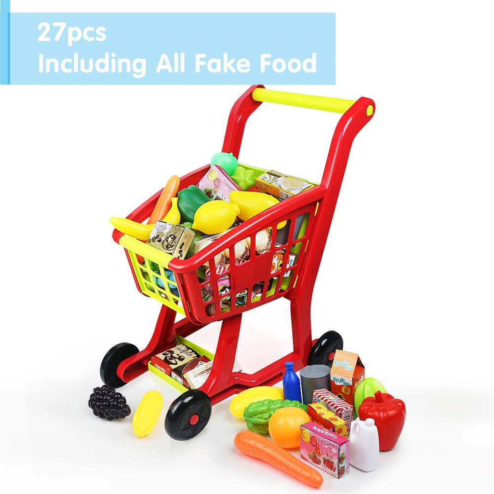 Nuheby Kids Trolley Toy Shopping Trolleys Children Shopping Cart Supermarket Trolley with 27pcs Toy Fruit&Toy Vegetables Pretend Play Toy for Boys Girls 3 4 5 Years Old JCHG .