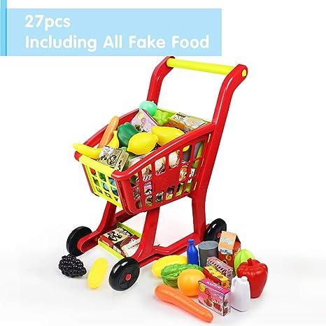 Nuheby Carrito de Compra Infantil Supermercado de Juguetes con Frutas Vegetales y Alimentos Falsos Juguete de