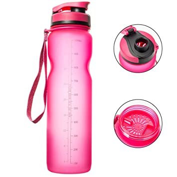 Enjoygoeu 1L Gran plástico reutilizable botella helado de agua portátil de la aptitud al aire libre