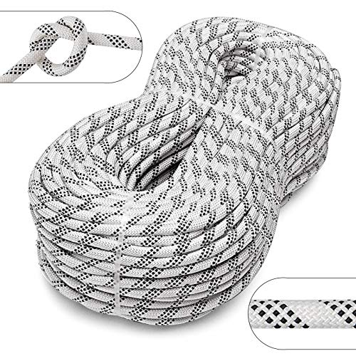 Mophorn Dynamic Climbing Rope 9.5mm 10.5mm 12mm Robust Nylon Rock Climbing Rope White with Black Outdoor Rock Climbing Rope for Rock Climbing (10.5mm, 50)