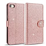 Rose Gold iPhone 5 Case, Glitter iPhone 5S Wallet Case, Luxury Bling Rhinestone Flip PU Leather Case Love Diamond Buckle Magnetic Folio Stand Wallet With Card Slots Soft TPU Back Shell Case Cover