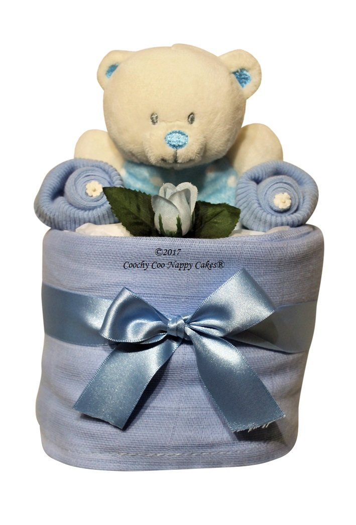 Baby Boy Blue Ring Rattle Nappy Cake Gift FREE Delivery